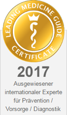 Leading Medicine Guide Certificate - Ausgewiesener internationaler Experte fuer Praevention, Vorsorge, Diagnostik
